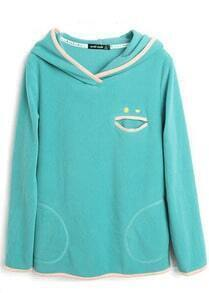 Turquoise Contrast Smile Trims Fleece Hoodie Sweatshirt