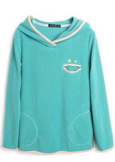 Turquoise Contrast Smile Trims Fleece Hoodie Sweatshirt