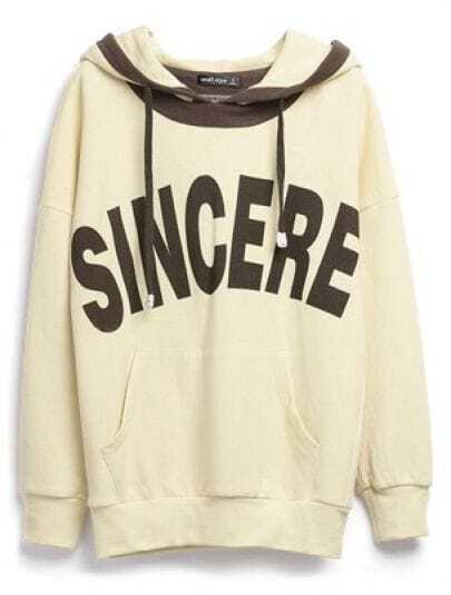 Light Yellow SINCERE Print Drawstring Hoodie Sweatshirt