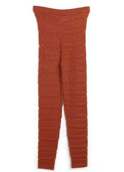 Orange Woven Hollow Knit Leggings