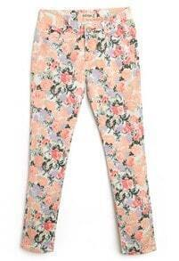 Beige Peach Floral Print Skinny Pant