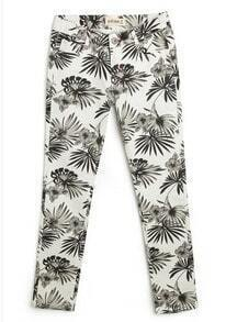 Beige Black Palm Leaf Print Skinny Pant