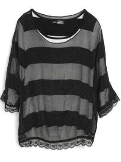 Black White Striped Short Sleeve Sweater with Detachable Chiffon Jumper