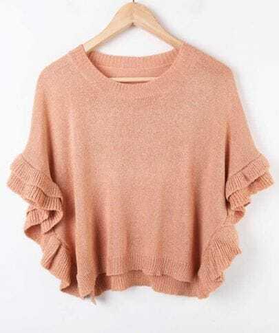 Light Peach Ruffles Dolman Sleeve Crop Jumper Sweater