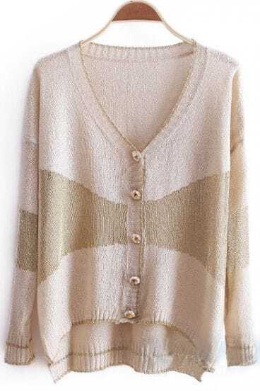 Beige V-neck Long Sleeve Metallic Contrast Panel Cardigan