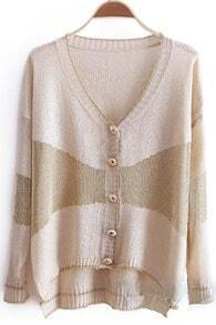 Beige V-neck Long Sleeve Metallic Contrast Panel Cardigan