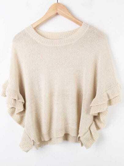 Apricot Ruffles Dolman Sleeve Crop Jumper Sweater