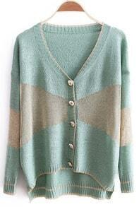 Light Green V-neck Long Sleeve Metallic Contrast Panel Cardigan