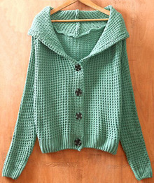 Light Green Long Sleeve Hoodie Chunky Cardigan Sweater