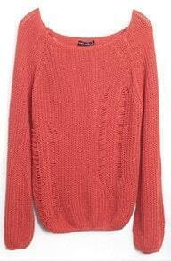 Red Flare Long Sleeve Hollow Out Chunky Sweater