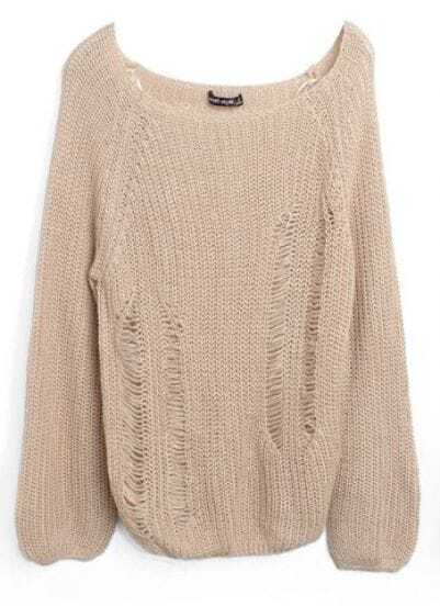 Apricot Flare Long Sleeve Hollow Out Chunky Sweater