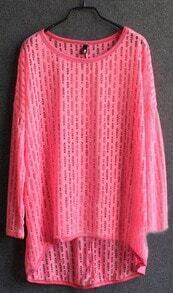 Rose Red Long Sleeve Hollow Out Sheer Knit Jumper Sweater