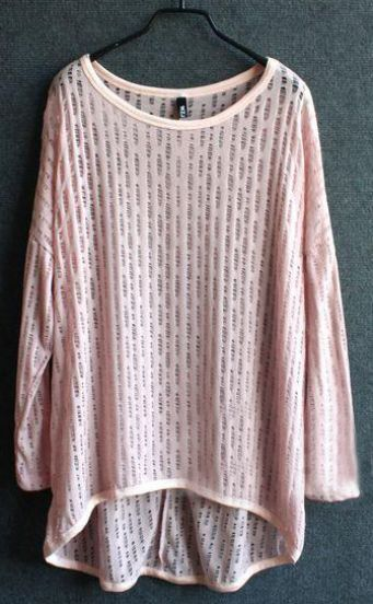 Light Pink Long Sleeve Hollow Out Sheer Knit Jumper Sweater -SheIn ...