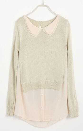 Apricot Peter Pan Collar Contrast Chiffon Hem Knit Sweater