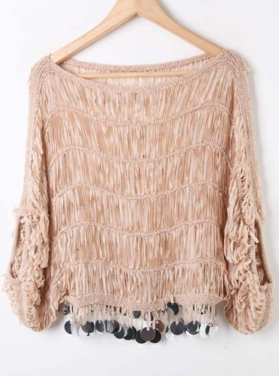 Khaki Batwing Sleeve Sequined Fringer Hem Jumper Sweater