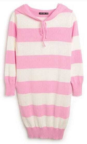 Pink White Stripes Long Sleeve Drawstring Hoodie Knitted Dress