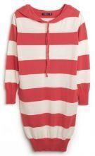 Red White Stripes Long Sleeve Drawstring Hoodie Knitted Dress