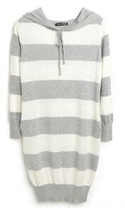 Grey White Stripes Long Sleeve Drawstring Hoodie Knitted Dress