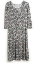 Navy Feathers Print Long Sleeve Slim Maxi Dress