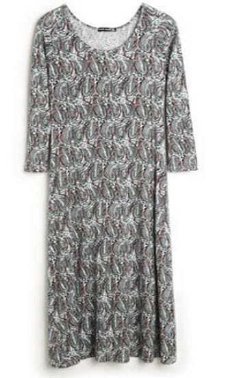 Navy Feathers Print Long Sleeve Slim Maxi Dress