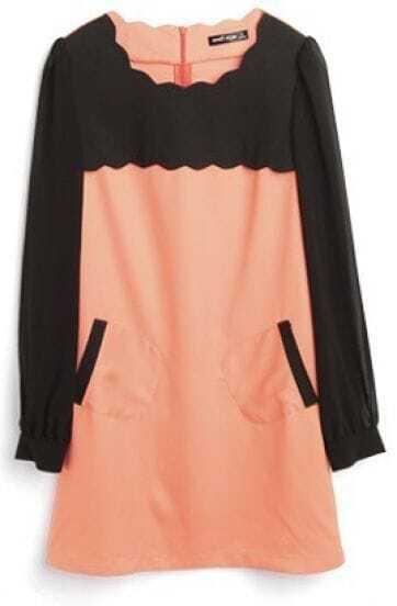 Orange Black Long Sleeve Scallop Edge Zip Back Sheath Dress