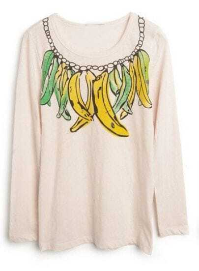 Apricot Long Sleeve Banana Print Slim T-shirt