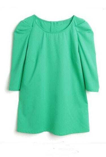 Mint Green Puff Half Sleeve Star Button Back T-shirt