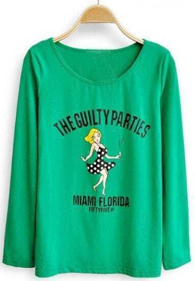 Green Long Sleeve THE GUILTY PARTIES Print T-shirt