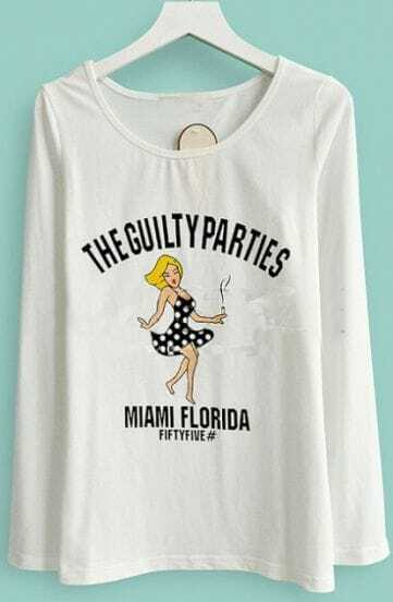 White Long Sleeve THE GUILTY PARTIES Print T-shirt