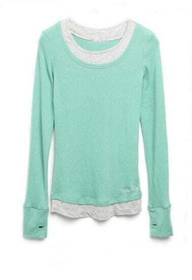Mint Long Sleeve Contrast Pink Trim Finger Cuff T-shirt
