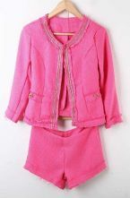 Rose Red Chain Fringes Trims Tweed Jacket with Shorts