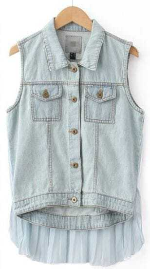 Light Blue Contrast Pleated Chiffon Hem Denim Vest
