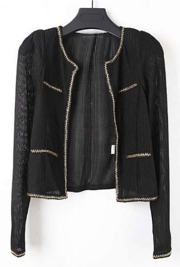 Black Long Sleeve Metallic Yarn Trims Knit Jacket
