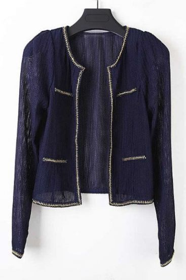 Navy Long Sleeve Metallic Yarn Trims Knit Jacket