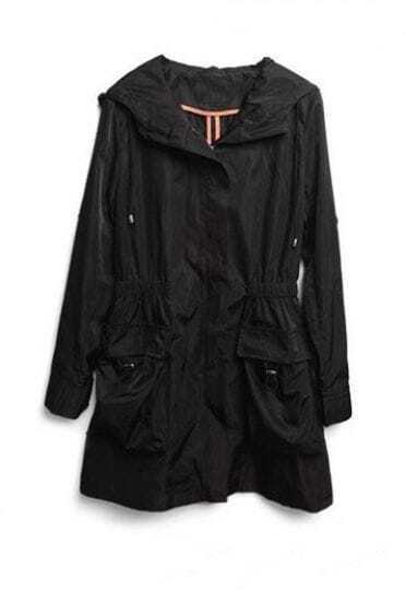 Black Long Sleeve Hoodie Drawstring Pockets Trench Coat