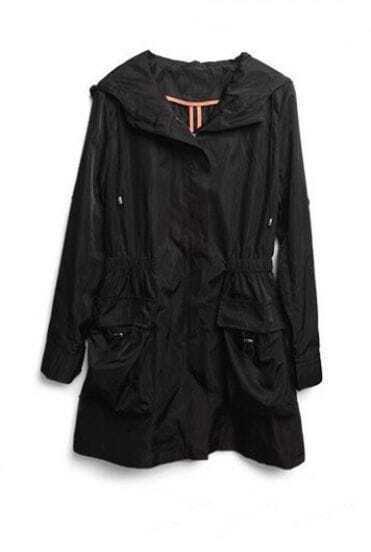 Black Long Sleeve Hoodie Drawstring Pockets Trench Coat