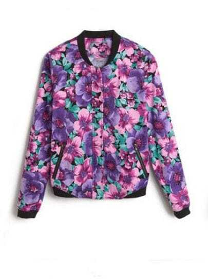 Purple Long Sleeve Floral Print Bomber Jacket