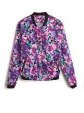 Purple Long Sleeve Floral Print Bomber Jacket