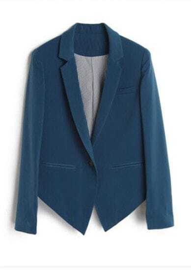 Dark Blue Long Sleeve One Button Striped Lining Tuxedo Blazer