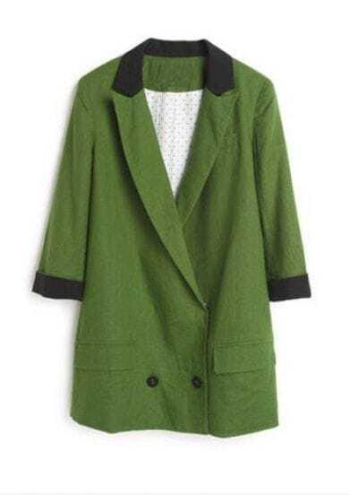 Green Three Quarter Length Sleeve Contrast Trims Linen Blazer