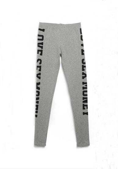 Grey SEX MONEY Print Legging