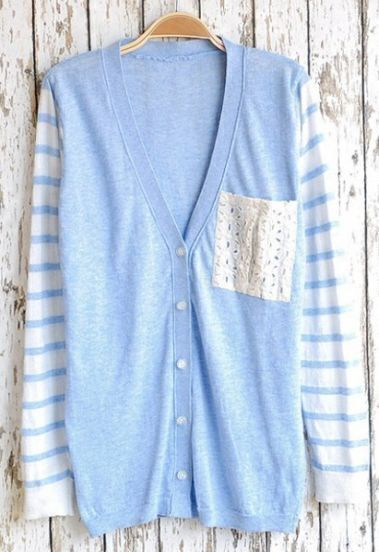 Light Blue Lace Pocket Single Breasted Sweater
