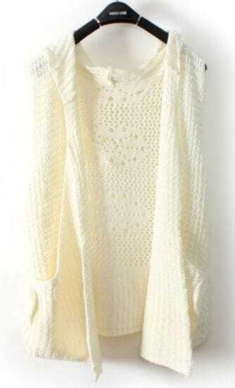 White Hooded Hollow Embroidery Pockets Sweater