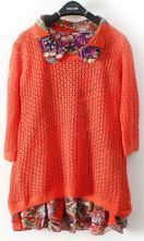 Orange Tribal Print Hollow Two Pieces Sweater