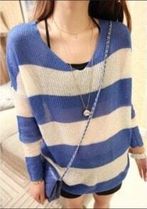 Blue White Striped Hollow Batwing Sweater