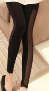 Black Nude Skinny Polyester Leggings