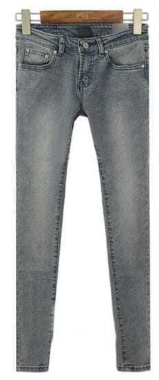 Grey Low Waist Bleached Elastic Denim Pant