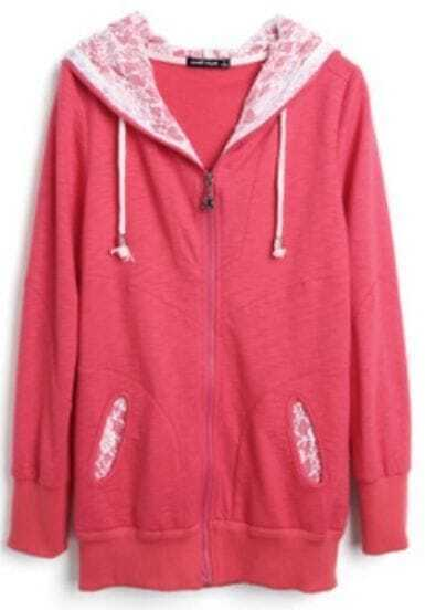 Red Hooded Zipper Lace Loose Cotton Sweatshirt