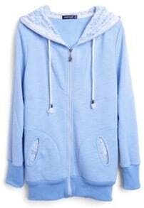 Blue Hooded Zipper Lace Loose Cotton Sweatshirt