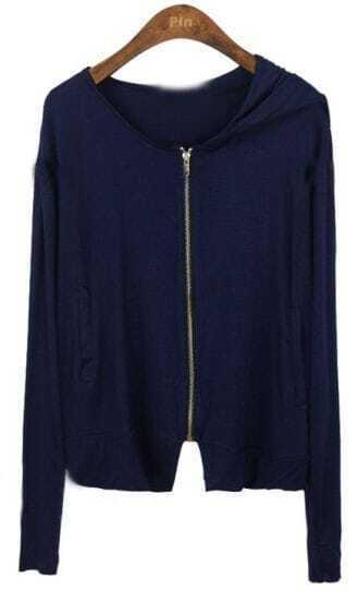 Dark Blue Hooded Zipper Loose Modal Sweatshirt